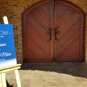 The Chapel doors at Benedetto On Vaal Venue during Dwaine and Inge-Mari wedding